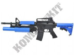 BY031 M4-M203 Electric AEG Airsoft BB Machine Gun Black and Blue Full Extra Pack